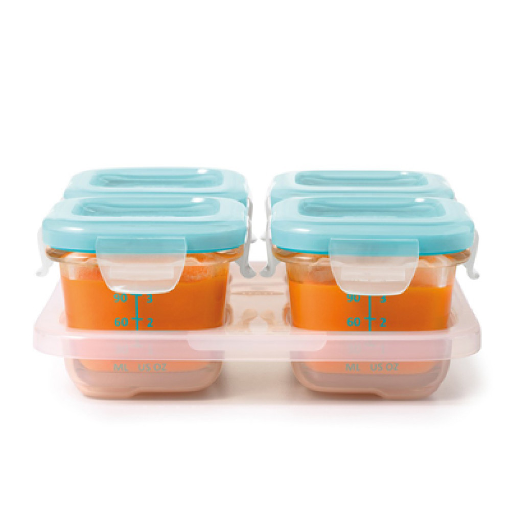 OXO tot Glass Baby Blocks Freezer Storage Containers 120ml Aqua