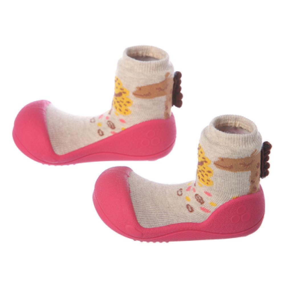 Attipas Baby Toddler Shoes Socks Giraffe Fuchsia Nordic Brown