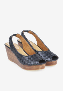 Wedges Sandal Wicker Navy