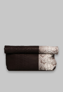 Newspaper Clutch Brown White