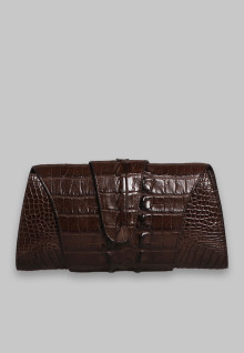 Clutch Croco Gulung Brown