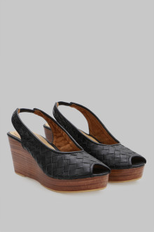 Wedges Sandal Wicker Black