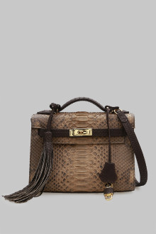 BAG HERMES SMALL PYTHON BROWN - CREAM