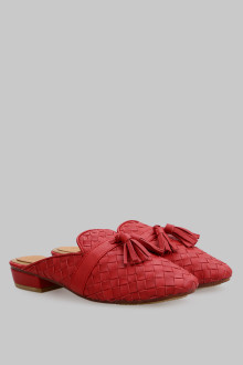 Mules Wicker Red Tassel