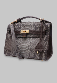 Bag HERMES SMALL PYTHON GREY - BLACK