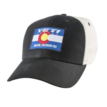 YETI HAT FLAG CO WOVEN DVS SOFT MESH SIDE LINE BLACK NATURAL image