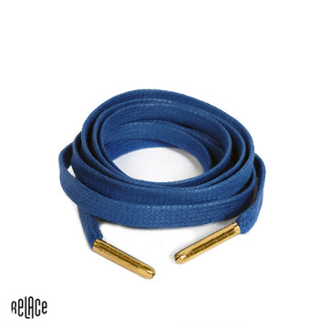 Royal Blue Waxed Flat Laces - Gold Aglets image