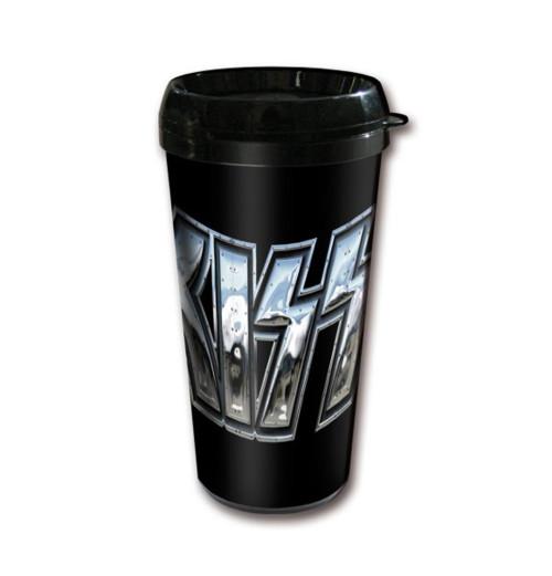 Kiss - Chrome Logo Plastic Travel Mug