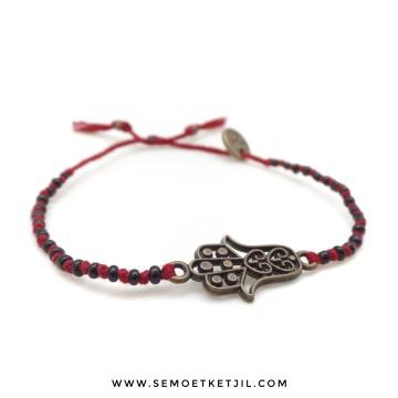 Hamsa Black Beads image