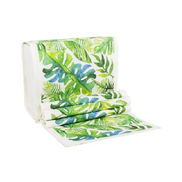 Table Runner Besar Daun Monstera Hijau - Seruni Living
