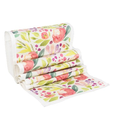 Table Runner Besar Bunga MariGold Pink - Seruni Living