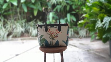 Premium Hand Bag Forest Orchid Flower  Cream