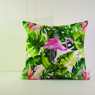 Cushion Cover Daun Monstera dan Flamingo - Seruni Living