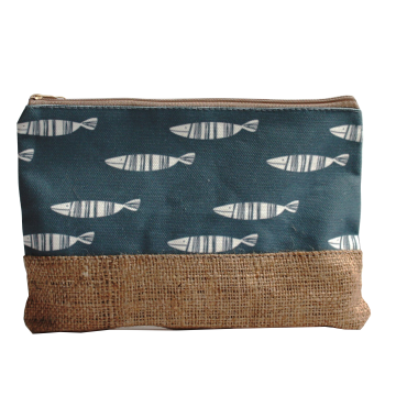 Pouch Canvas Fish Grey - Seruni Living