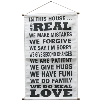 Banner Canvas Quote In This House _ We Are Patient - Seruni Living