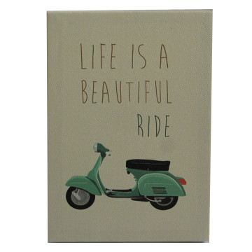 Wall Canvas (Quote) Life Is A Beautiful Ride _ Vespa Hijau - Seruni Living