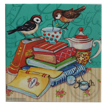 Wall Canvas (Quote) Little Bird On Top Of A Pile Of Books - Seruni Living