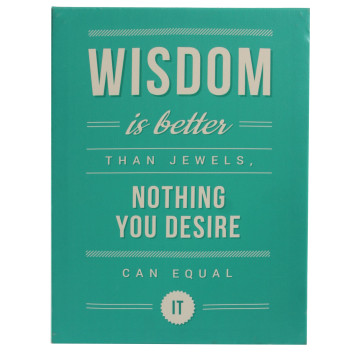 Wall Canvas Quote Wisdom Is Better Than Jewels - Seruni Living