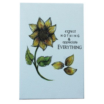 Wall Canvas (Quote bergambar Sun Flower) Expect Nothing Appreciate Everything - Seruni Living