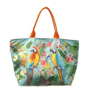 Beach Bag Kanawa Blue with Burung Kakak Tua
