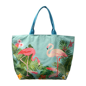 Beach Bag Kanawa Blue with  Flamingo