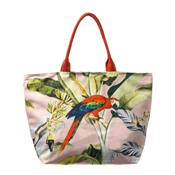 Beach Bag Kanawa Pink with Parrot