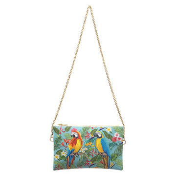 Karina Vegan Leather Pouch blue  Parrot