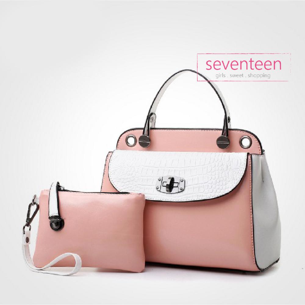 Tas Selempang Handbag Korea Stylish White Pink 2in1 Bag Fashion