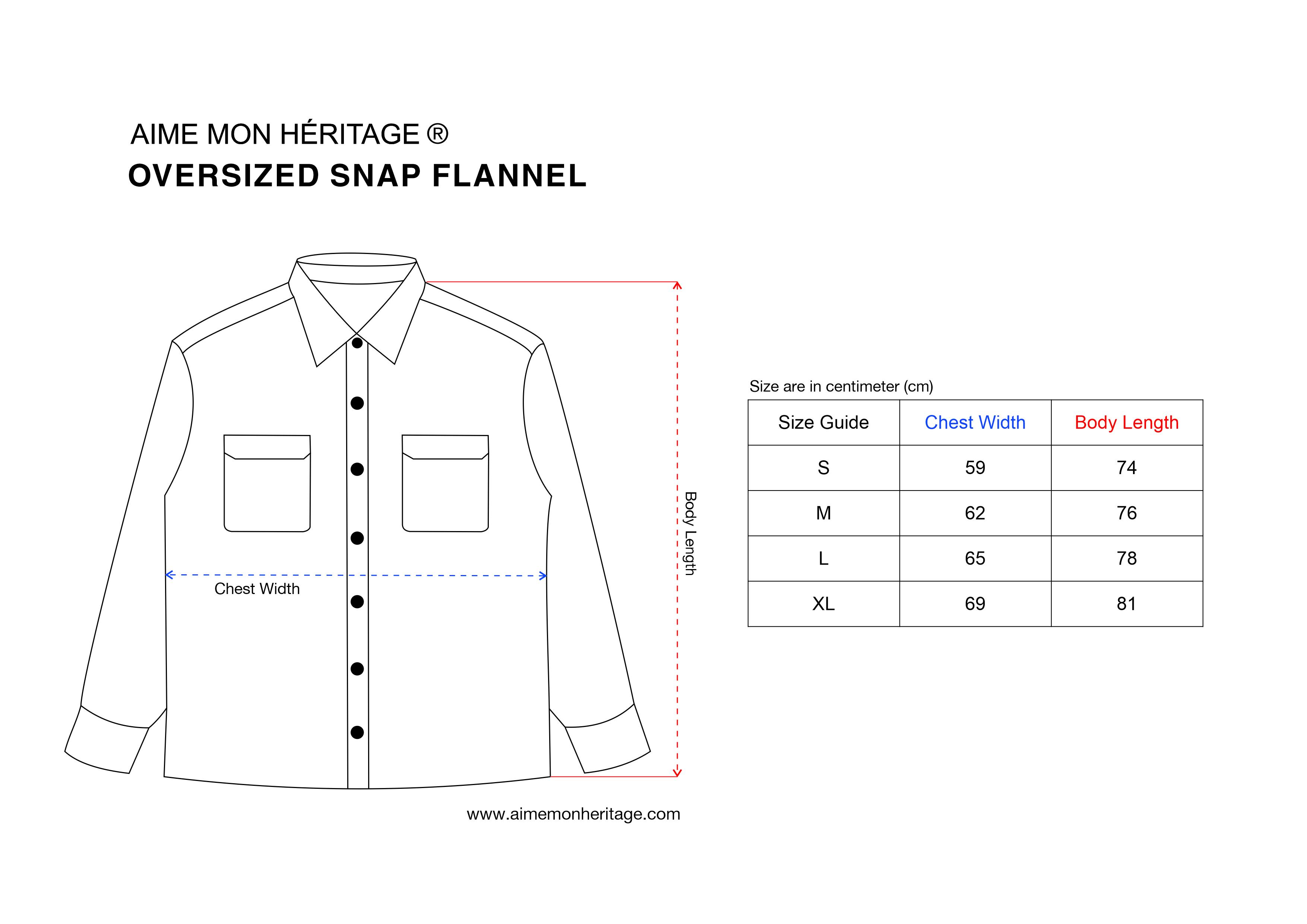 size chart shirt flannel