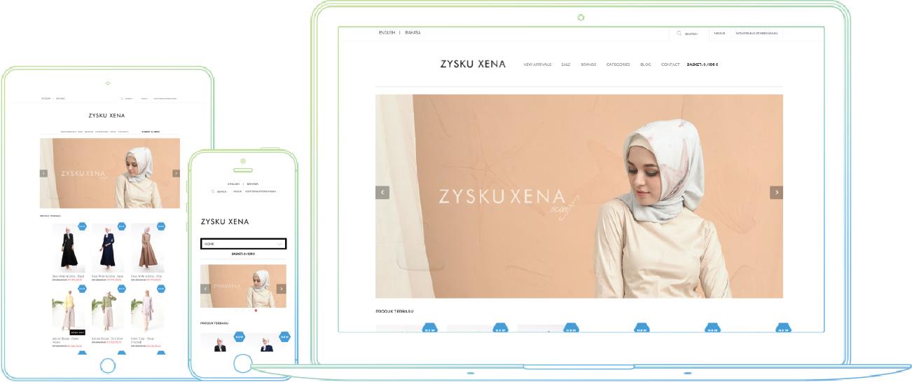 Toko online yang sudah mobile-friendly milik Zysku Xena, Bisnis Online Fashion Muslim dari Bandung
