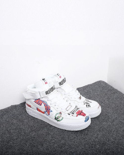 quality design 0f5ce 84f39 Nike Air Force 1 Mid Supreme NBA - White - 13319