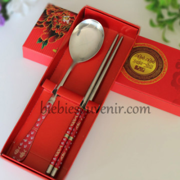 Red Spoon and Chopstick Set image