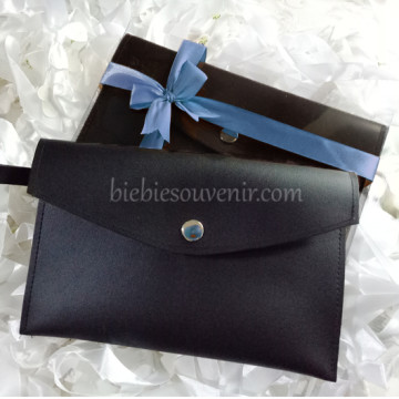 Charcoal Black Leather Pouch Bag image