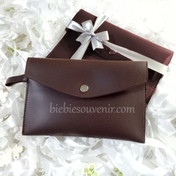 Choco Brown Leather Pouch Bag image