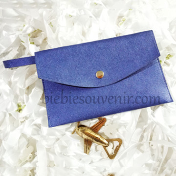 Navy Blue Leather Pouch Bag image