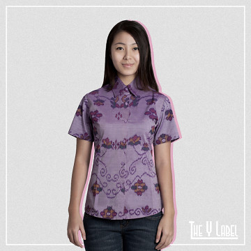 The Y Label Summer Soul Ikat Short Sleeve Purple (Womenswear)