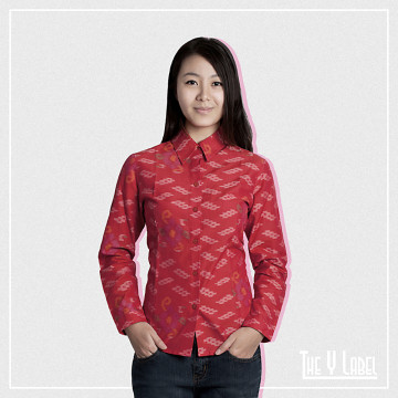 The Y Label Summer Ikat Long Sleeve Red (Womenswear)