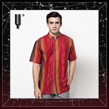 The Y Label Phoenix Jacquard Short Sleeve Maroon Fire
