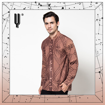 The Y Label Phoenix Jacquard Long Sleeve Sepia Brown