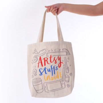 Artsy Stuffs Inside Tote Bag