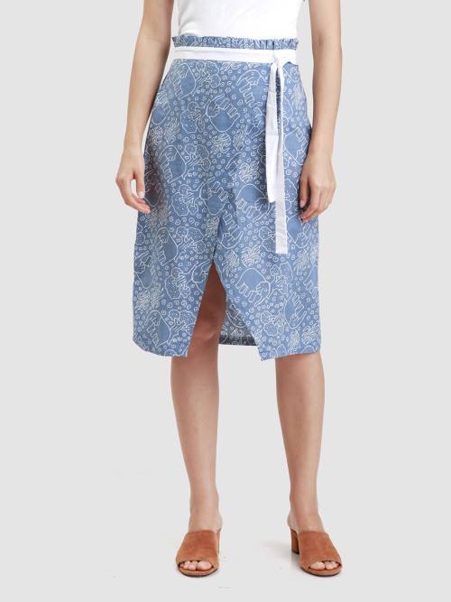 Wyn Wrap Skirt in Blue image