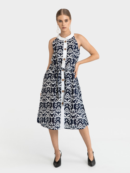 Dolce Buttoned Midi Dress in Navy image