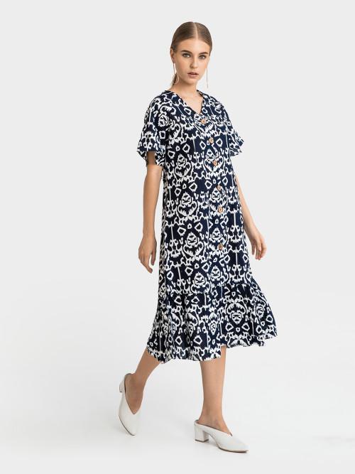 Sovii Peplum Midi Dress in Navy image