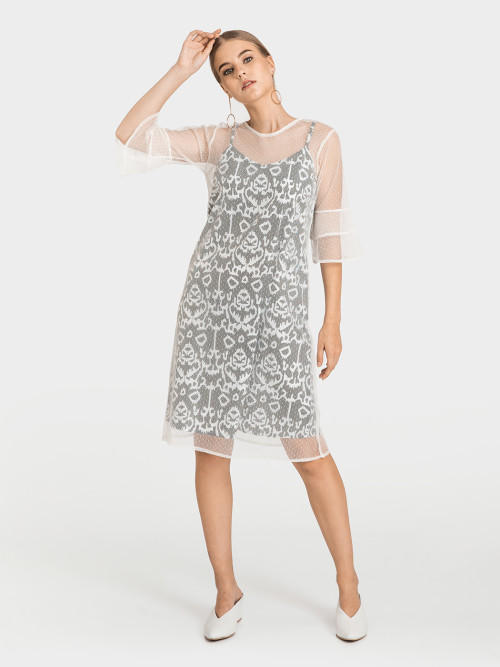 Oslo Bell-Sleeves Tulle Dress in Grey image