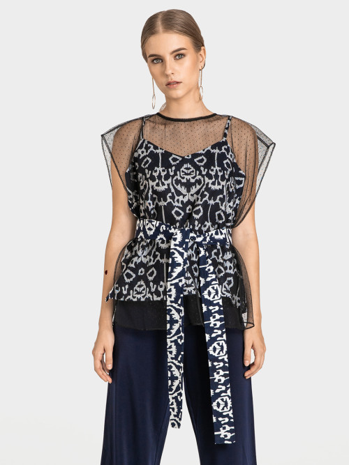 Eden Square Tulle Top in Navy image
