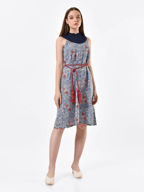 Layla Half-Moon Midi Dress in Blue image