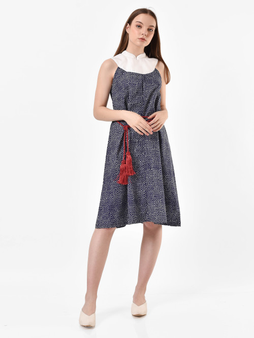 Layla Half-Moon Midi Dress in Navy image