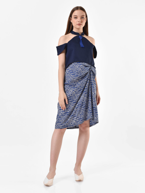 Moana Layer Drapery Dress in Blue image