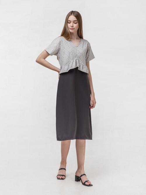Archie Peplum Midi Dress in Grey image