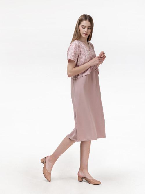 Archie Peplum Midi Dress in Pink image